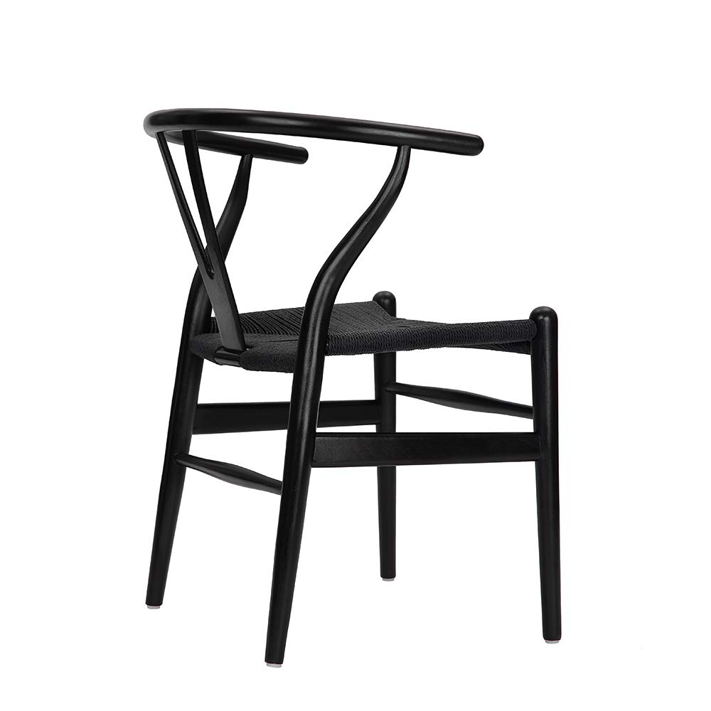 Tomile Wishbone Chair Y Chair Solid Wood Dining Chairs Rattan Armchair Natural Beech-Black