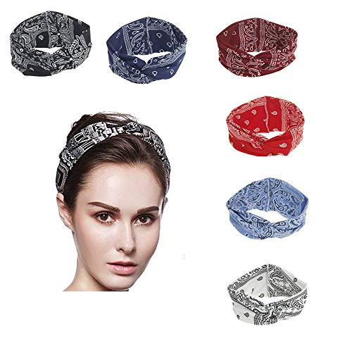 Headbands for Women, Yoga Sport Elastic Turban Twisted Knotted Hair Band Print Floral Headwraps (Black)