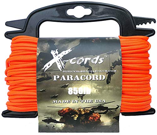 X-CORDS Paracord 850 Lb Stronger Than 550 and 750 Made by Us Government Certified Contractor (100' Orange ON Spool 850LB) by X-CORDS (Image #1)