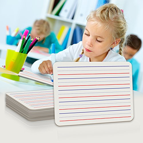 10 Pack Dry Erase Ruled Lap Boards l 9 X12 inch Lined Whiteboard l Educational Toys for 5 years and older (Double sided White Boards )