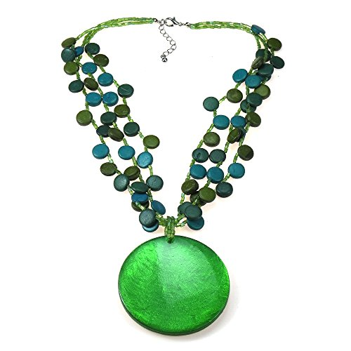 Dazzling Green Medallion Sea Shell-Wood-Fashion Beading Nickel Free Base Metal Wood Necklace