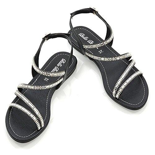 Cinturino Alla Sandalo Glam Impreziosito Donna Nero Caviglia Piatto Signore Scarpe Le Elegante Essex Diamante W6pt4Tnn