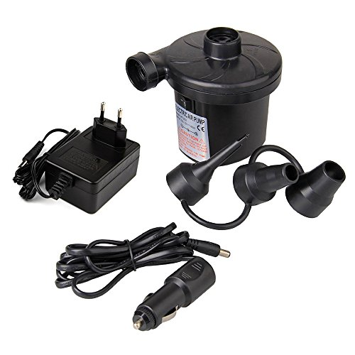 Electric Air Pump DC High Pressure 2 in 1 Inflator AC 12V Car Electric Pump with Quick-Fill 3 Nozzles for Camping Air Bed Mattress Boat Outdoor Inflator Deflator Bed Lake Floats Rafts Pool Toys by ezyoutdoor