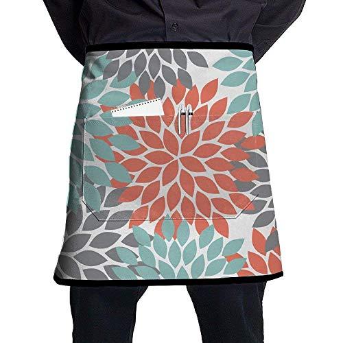 Han Jun Hua Multicolour Orange Grey Green Dahlia Floral Pattern Chef Aprons Bar Custom Half-Length Waist Apron Stitching Pocket£¬Easy to Clean -