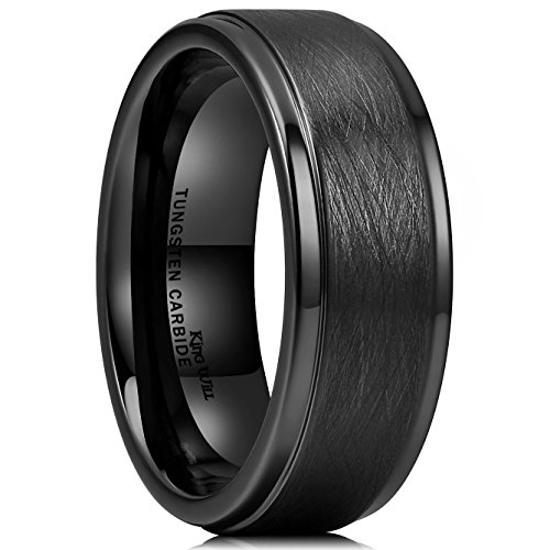 King Will Classic 8mm Tungsten Carbide Ring Black Brushed Two Grooved Center Mens Wedding Band 7.5