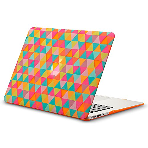 Kuzy - AIR 13-inch Rubberized Hard Case for MacBook Air 13.3 (A1466 & A1369)(NEWEST VERSION) Shell Cover Matte - Triangle ORANGE