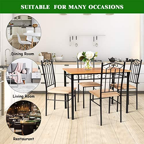home, kitchen, furniture, kitchen, dining room furniture,  table, chair sets 9 discount Tangkula 5 Piece Dining Table Set Vintage Wood in USA