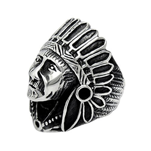 [Jewelry Men's Women's Stainless Steel Indian Chief Rings Size 6-12 Fashion Hipster Ring for Girls] (Master Chief Suit For Sale)