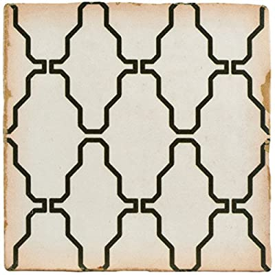 "SomerTile FPEARCCR Modele Ceramic Floor and Wall Tile, 4.875"" x 4.875"", Black/Cream/White/Brown"