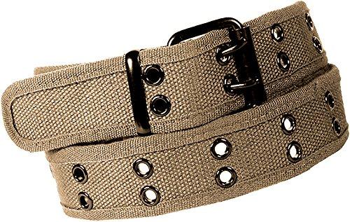 Enimay Designer Double Hole Canvas Belt Black Buckle Khaki Medium