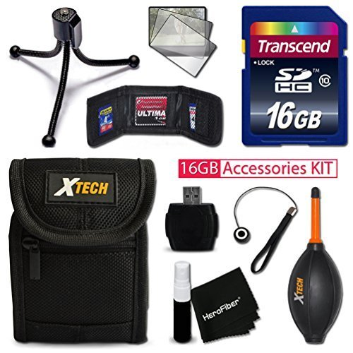 IDEAL 16GB Accessories KIT for Canon ELPH 170 IS, IXUS 170, 150 IS, IXUS 160, 340 HS, 350 HS, 320 HS Includes: 16GB High-Speed Memory Card + Premium Fitted Case + Flexible Mini Tripod + MORE by Xtech