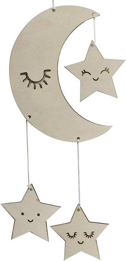 Bismarckbeer - Decoración para colgar en la pared, diseño de estrellas de luna de madera, decoración de habitación para niños