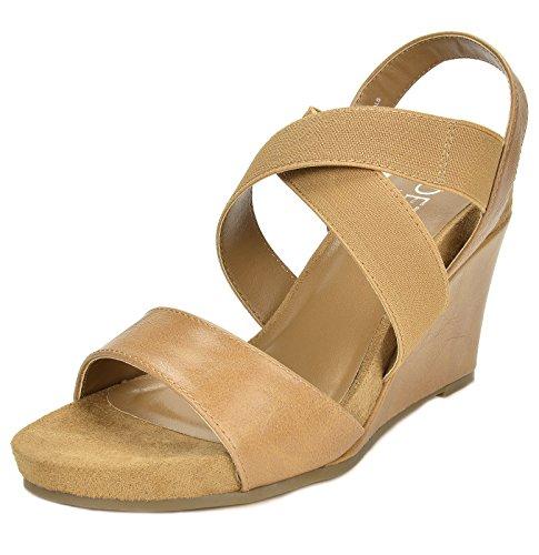 TOETOS Women's Solsoft-8 Nude Mid Heel Platform Wedges Sandals - 10 M US