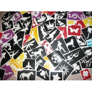 200 Adhesive Stencils, No Duplicates in Each Pack of 100, for Face Painting and Glitter Tattoos!