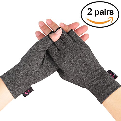 2 Pairs - Compression Arthritis Gloves for Women and Men, Fingerless Design to Relieve Pain from Rheumatoid Arthritis and Osteoarthritis (Grey, Medium) by HuaD