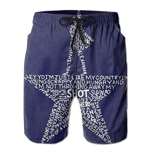 (Novelty Gifts - Alexander-Hamilton-Musical Star Tibetan Blue White - Swim Trunks Quick Dry Beach Shorts with Pockets for Teens Boys)