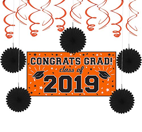 Party City Orange Congrats Grad 2019 Graduation Basic Decorating Supplies with Banner, Paper Fans, and Swirls