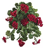 Artificial 22-inch Red Geranium Trailing Bush (Set of 6)