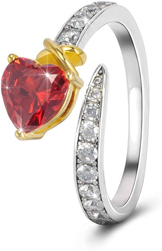 NA Girl&Women Birthstone Ring with Love Heart Great Adjustable Rotating Ring for Women Wedding 925 Sterling Silver Plated 14K Gold
