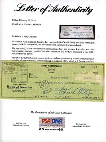 CARROLL SHELBY PSA DNA Coa Signed 1st Year 1962 Check Autograph