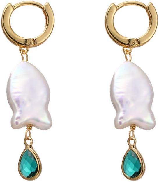 GUOZHENG Moda Natural Perlas De Agua Dulce Pendientes Colgantes Geométricos De Cobre Barroco Cristal Verde para Mujeres Joyas De Fiesta