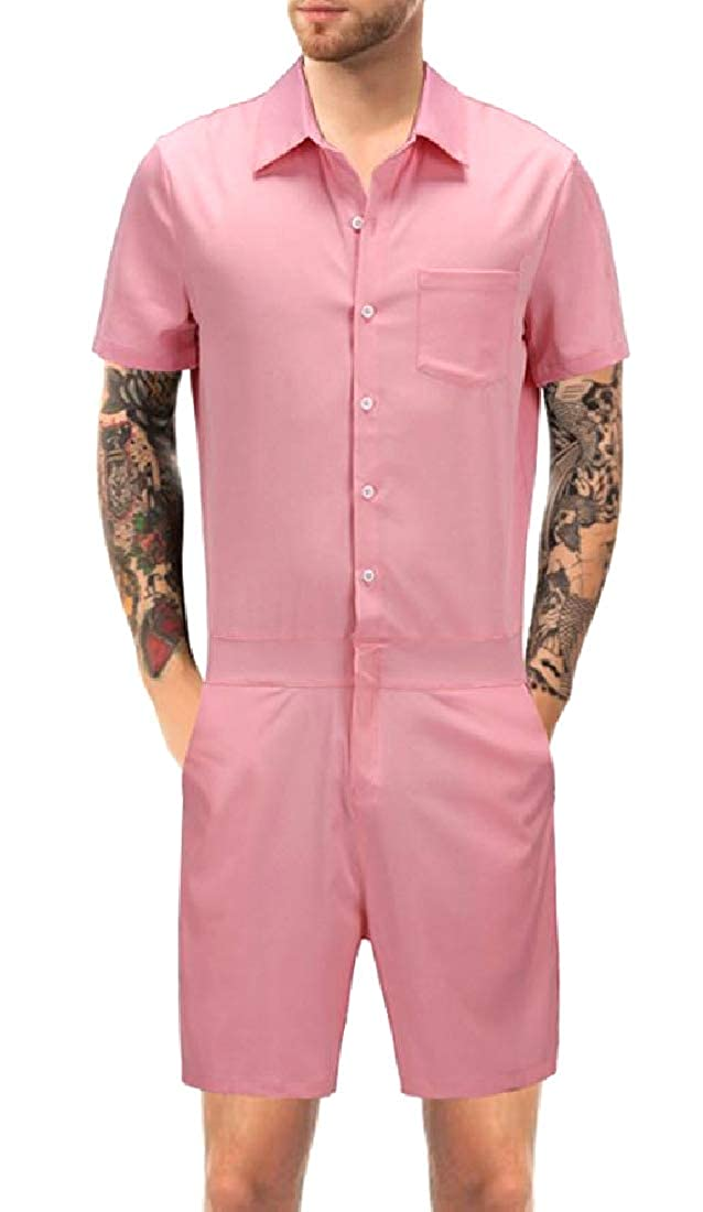 Whitive Men Everyday Openwork Slim Casual Twill Fabric Short Playsuit