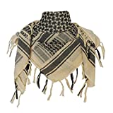 Explore Land 100% Cotton Military Shemagh Tactical Desert Keffiyeh Scarf Wrap (Tan)