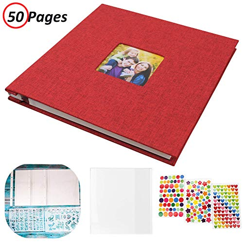 Photo Album Self Adhesive, Linen Hardcover 50 Sticky Pages Scrapbook Album, Memory Book for Wedding/Family, Dust-Free/Glue-Free Photo Album Holds and Protect 3X5, 4X6, 5X7, 6X8, 8X10, Photos (Red)