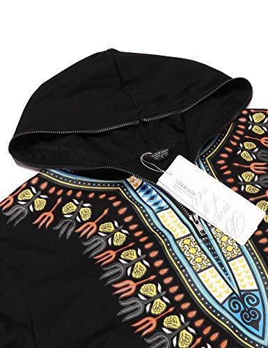 Jinidu Men's African Dashiki Graphic Hip Hop Hoodie Sweatshirt