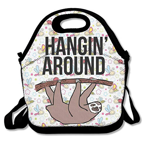 ound Sloth Lunch Bag Large Reusable Lunch Tote Bags Women Teens Girls Kids Baby Adults Lunch Box Work Office School Gym ()