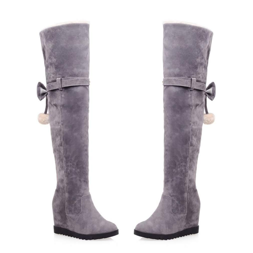 HY Damen Hohe Hohe Damen Stiefel Wildleder Herbst Winter Plus Kaschmir Overknee Stiefel Ladies Inside Erhöhen Große Schneeschuhe Stiefel (Farbe   D Größe   41) 3410eb