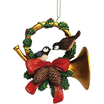 """WL SS-WL-93964 Christmas Holiday Chickadees on Yuletide Horn Ornament, 3.5"""""""