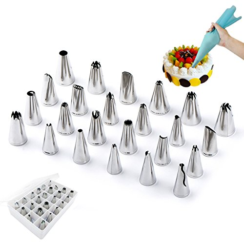 (Cake Decorating Supplies of 24 Large Size Nozzle Tips 2 Reusable Silicone Pastry Bags, Professional Stainless Steel DIY Icing Piping Tips with eBook Recipe, Cake Decoration Tools for Cupcakes)