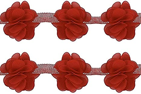 1-8 yard 25mm Bow Printing Lace Organza Flower Gathered Pleated Sequined Trim