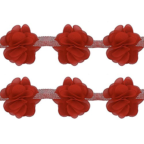 Fabric Sewing Trim - Yalulu 5 Yards 3D Chiffon Cluster Flowers DIY Lace Trim Dress Decoration Tulle Fabric Applique Trimming Craft Sewing (Red)