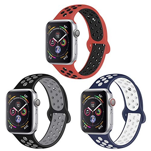 Price comparison product image Muzzai Band Compatible for Apple Watch Bands 42mm 44mm, Silicone Replacement Strap Wristband Compatible for iWatch Series 4 / 3 / 2 / 1, Women Man