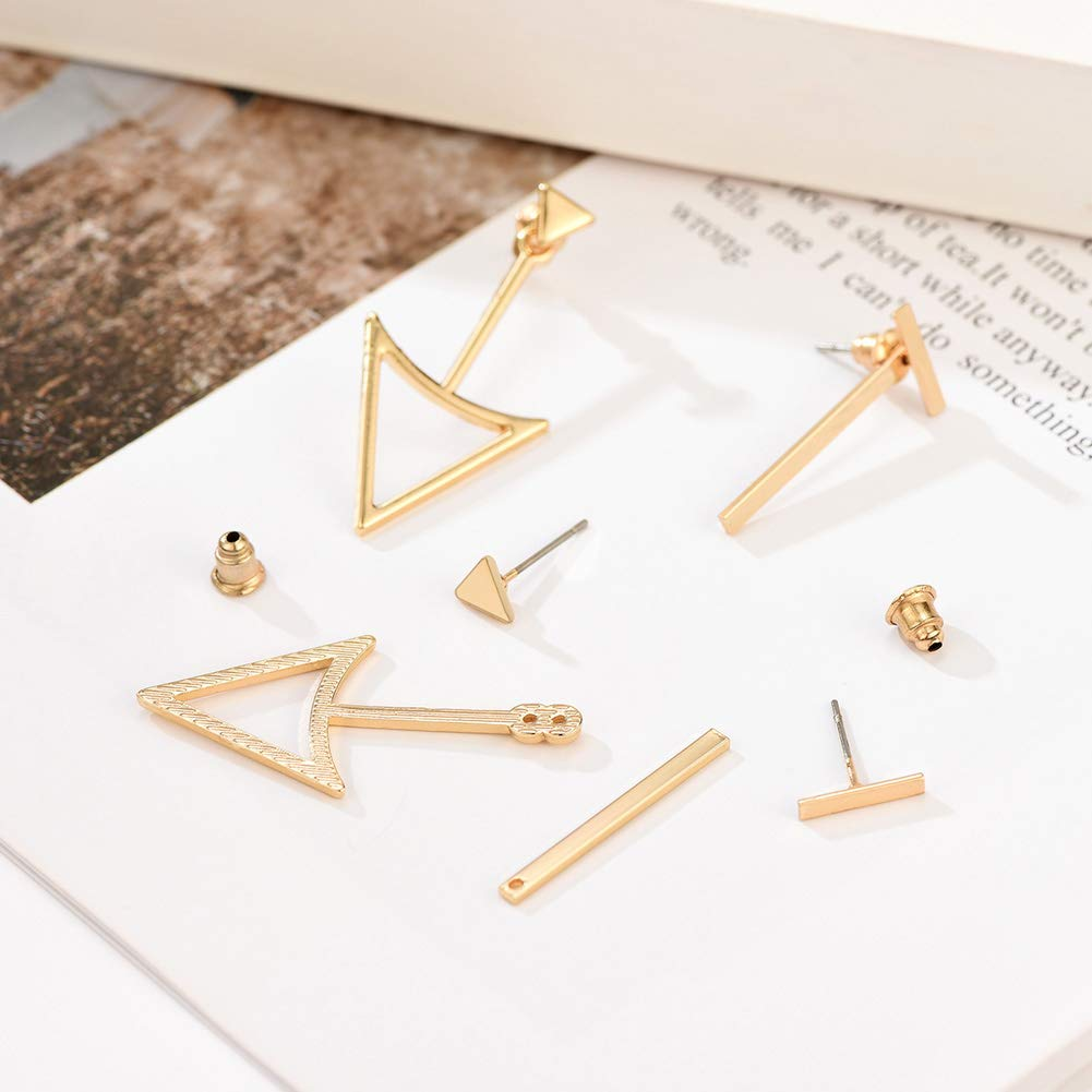 DIYOO 2 Pares de aretes Set Aretes de Oro Aretes de Mujer Aretes peque/ños de Stock Aretes Triangulares Huecos