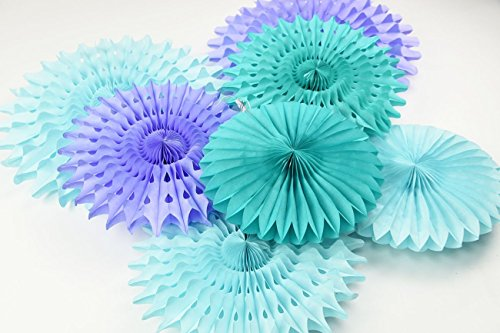Mermaid Baby Shower Decorations Aqua Blue Teal Purple Tissue Paper Fan Summer Party Beach