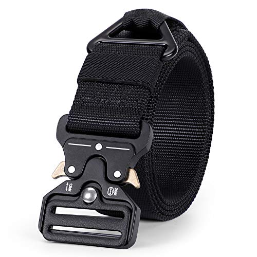 WERFORU Tactical Belt, Military Style Webbing Riggers Nylon Belt with Heavy-Duty Quick-Release Metal Buckle 1.5