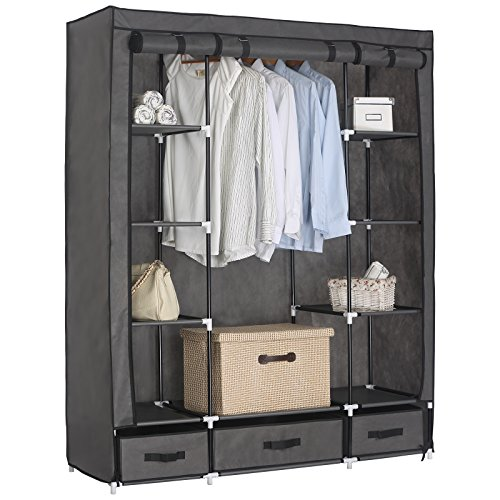 WOLTU Clothes Closet with Grey Cover