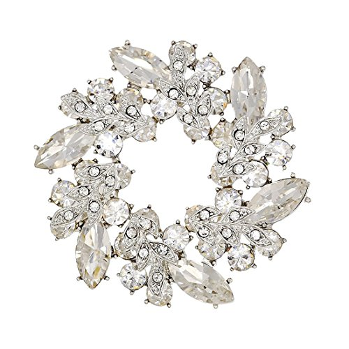XIAOTAI SHINYTIME Rhinestone Crystal Brooch pin Wreath Silver-Tone for Women Bridal and Wedding or Party Clothing Christmas Embellishments