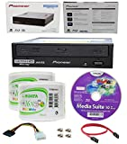 Pioneer 16x BDR-211UBK Internal Ultra HD Blu-ray BDXL Burner, Cyberlink Software and Cable Accessories Bundle with 100pk DVD-R RiDATA White Inkjet Printable
