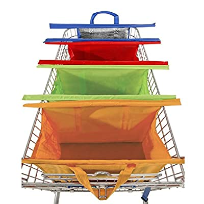 Misue Trolley Bags Pack Of 4 with Insulated Cooler Bag - Eco Friendly Reusable Grocery Bags Perfect For Shopping Carts - Detachable, Foldable & Reusable!