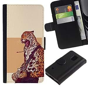 NEECELL GIFT forCITY // Billetera de cuero Caso Cubierta de protección Carcasa / Leather Wallet Case for Samsung Galaxy S5 V SM-G900 // Cheetah estrella del rock - Cool Cat