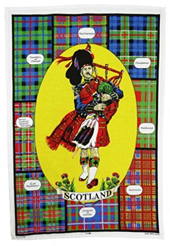 Glen Appin 100% Cotton Scotland Tea/Dish Towel - Scottish Highland Piper
