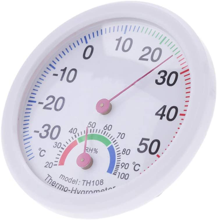 Thermometer Hygrometer Mini Round Clock-Shaped Measuring Indoor Outdoor Wall Mounted Temperature Humidity Meter Gauge