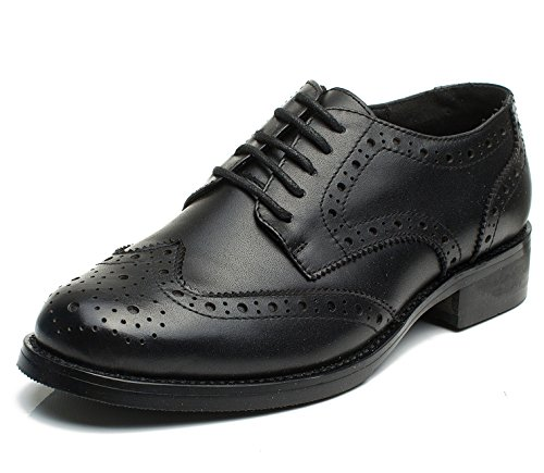 Lace Up Wingtip (U-lite Womens Black Perforated Lace-up Wingtip Leather Flat Oxfords Vintage Oxford Shoe Blk 7.5)