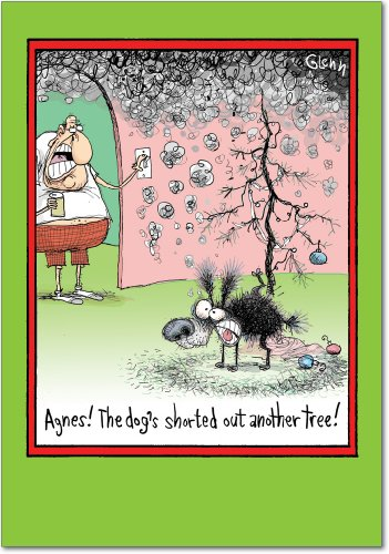 "5842 'Dog Peed Tree' - Funny Merry Christmas Greeting Card with 5"" x 7"" Envelope by NobleWorks"