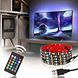 USB LED Multicolor RGB TV Backlight Kit ETL-List, 4pcs of 20 inch (6.56ft) Waterproof Strip Lights, 16 colors+4 modes RF Remote for Monitor, Screen, Furniture, Cabinet Background (25''-60'')