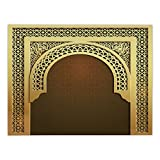 iPrint Rectangular Satin Tablecloth,Moroccan,Middle Eastern Ramadan Greeting Scroll Arch Figure Celebration Holy Eid Theme,Golden Brown,Dining Room Kitchen Table Cloth Cover